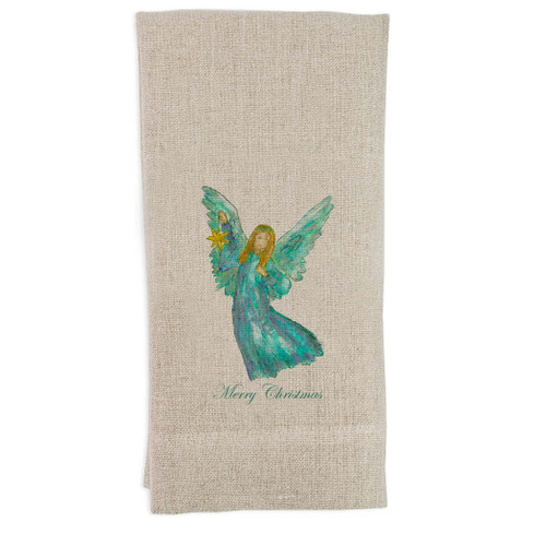 Angel Blue Star with Merry Christmas Guest Towel
