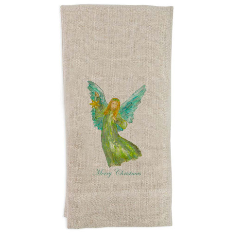 Angel Green Star with Merry Christmas Guest Towel