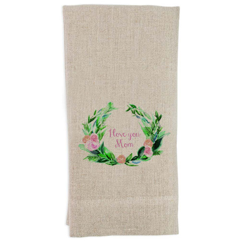 Wreath I Love You Mom Guest Towel