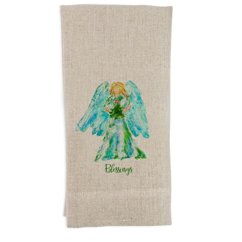 Angel Watercolor with Tree Blessings Guest Towel