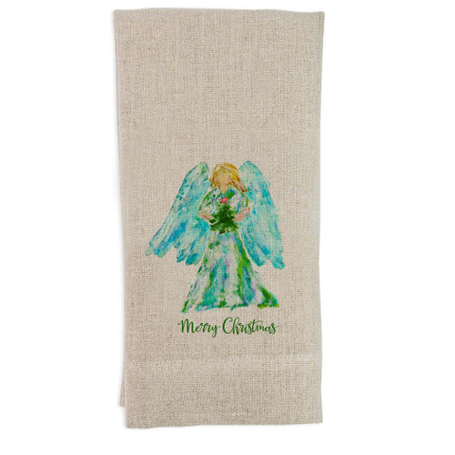 Angel Watercolor with Tree and Star Guest Towel