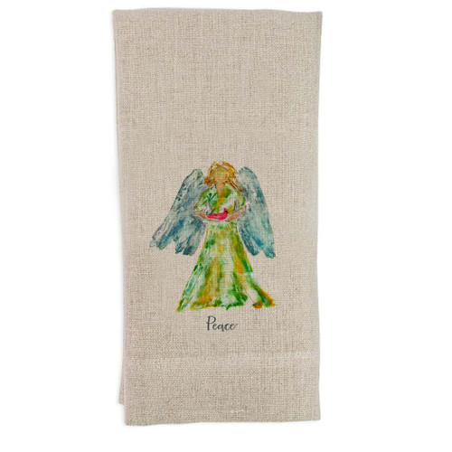Angel Watercolor with Bird and Peace Guest Towel