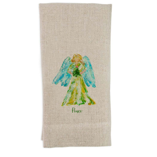Angel Watercolor with Tree Star and Peace Guest Towel