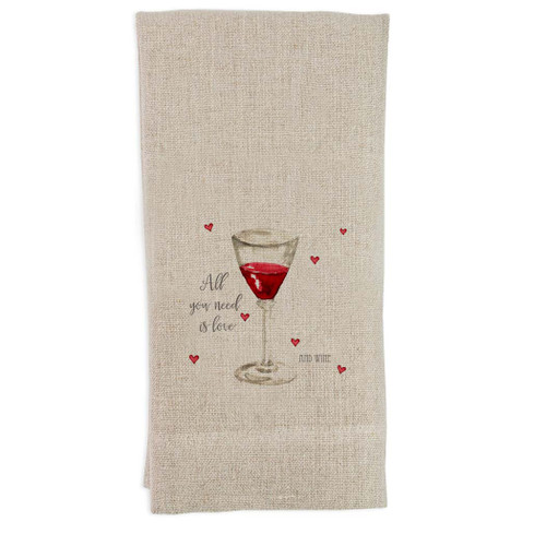 All You Need is Love and Wine Guest Towel