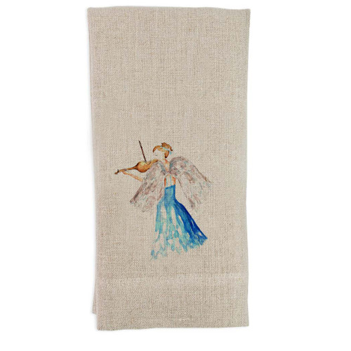 Blue Angel with Violin Guest Towel
