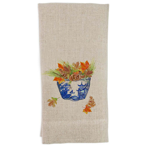 Blue White Bowl with Fall Leaves Guest Towel