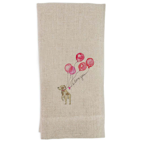 Dog with Balloons Guest Towel