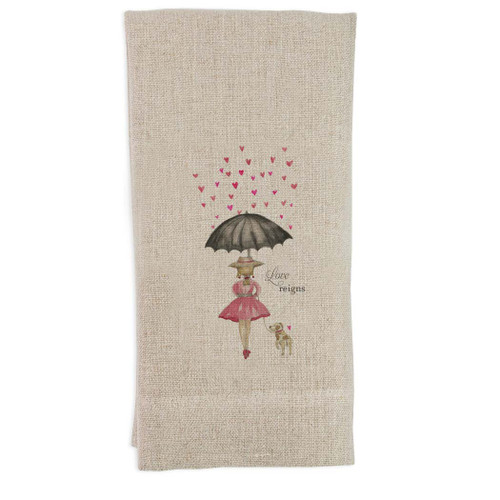 Girl with Umbrella Guest Towel