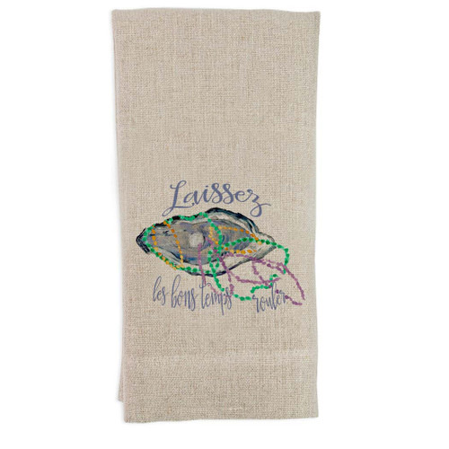 Mardi Gras Oyster with Laissez Quote Guest Towel
