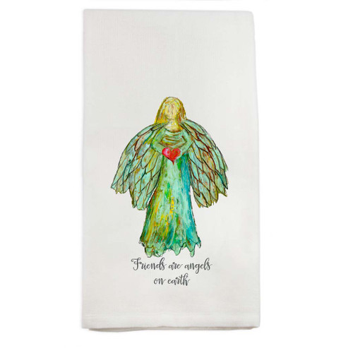 Colorful Angel with Quote Dish Towel