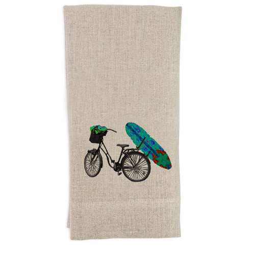 Bike with Blue Surfboard Guest Towel