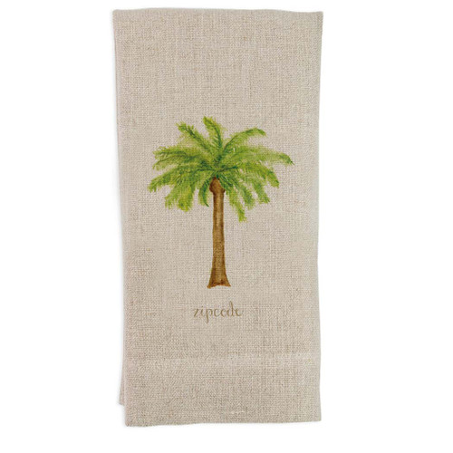 Palm Tree with Zipcode Guest Towel