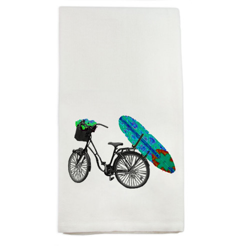 Bike with Blue Surfboard Dish Towel