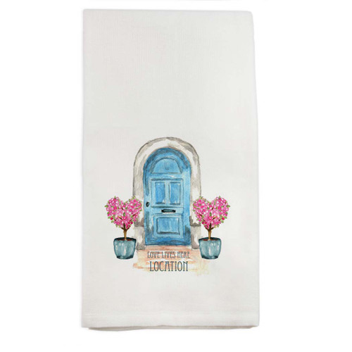 Blue Door Heart Topiaries Location Dish Towel