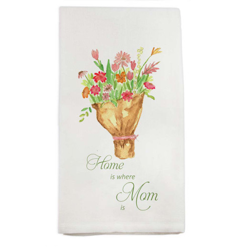 Tied Bundle of Flowers with Quote Dishtowel