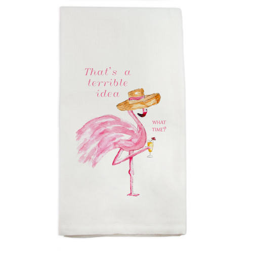 Flamingo Terrible Idea Dishtowel