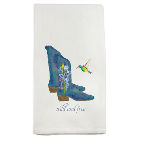 Boots Wild and Free Dishtowel