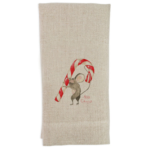 Mouse with Candy Cane and Merry Christmas Guesttowel