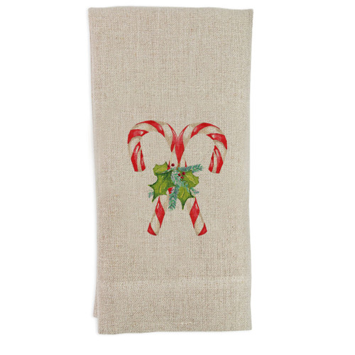 Candy Canes with Greens Guesttowel