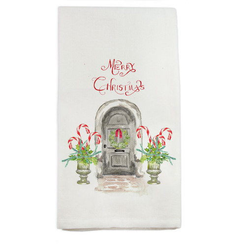 Grey Door with Candy Canes Dishtowel