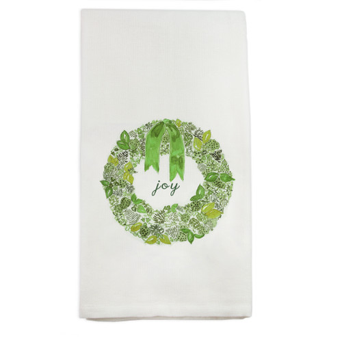 Green Wreath with Joy Dishtowel