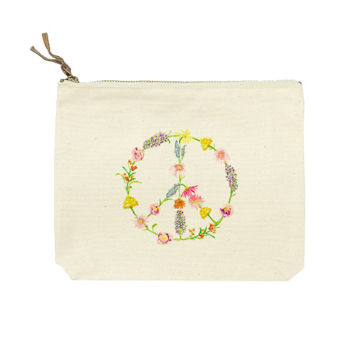 Peace Sign with Flowers Cosmetic Bag