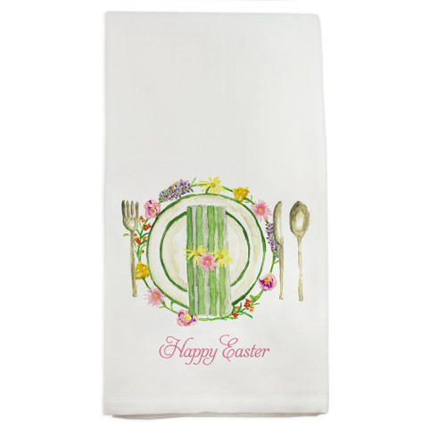 Placesettings with Happy Easter Dishtowel