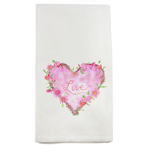 Solid Floral Heart with Love Dishtowel