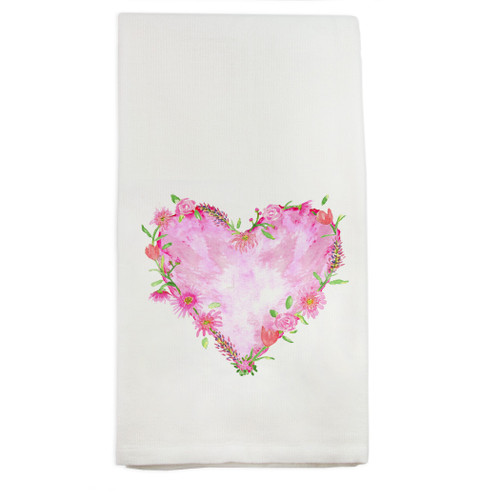 Solid Floral Heart No Words Dishtowel