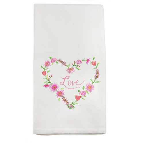 Floral Heart with Love Dishtowel