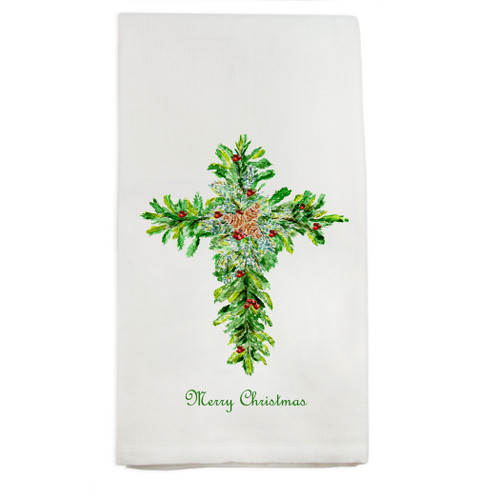 Christmas Cross with Red Berries Dishtowel