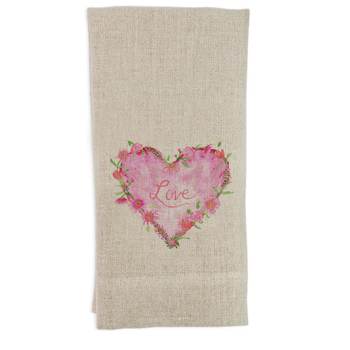 Solid Floral Heart with Love Guesttowel
