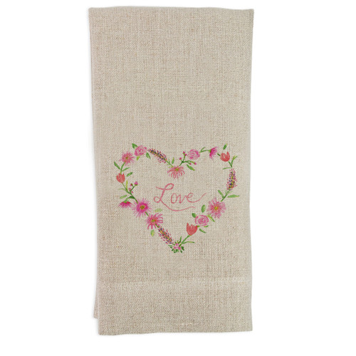 Floral Heart with Love Guesttowel