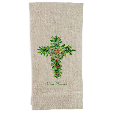 Christmas Cross with Red Berries Guesttowel