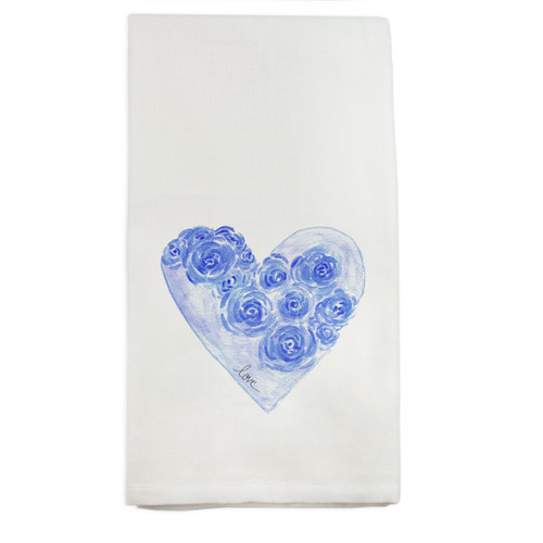Blue Heart with Flowers and Love Dishtowel