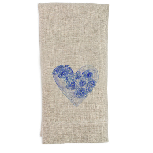 Blue Heart with Flowers and Love Guesttowel