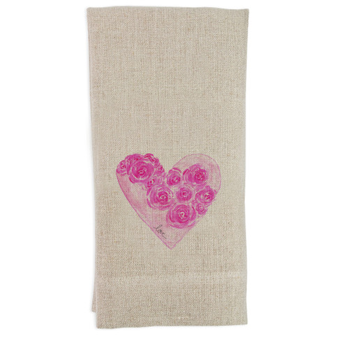 A Heart with Flowers and Love Guesttowel