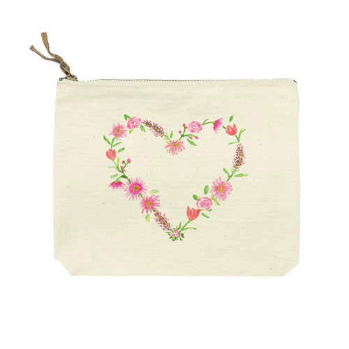 Floral Heart No Words Cosmetic Bag