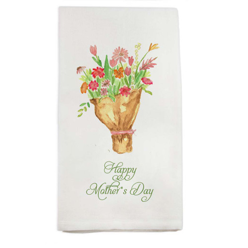 Tied Flowers with Happy Mother's Day Dishtowel