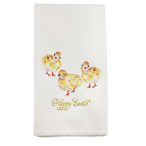 Three Baby Chicks with Happy Easter Dishtowel