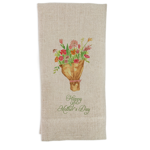 Tied Flowers with Happy Mother's Day Guesttowel
