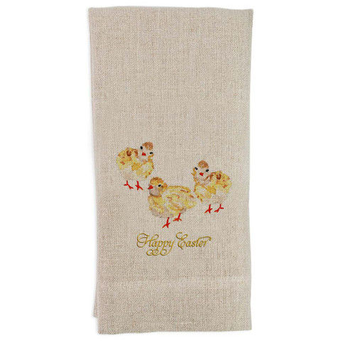 Three Baby Chicks with Happy Easter Guesttowel