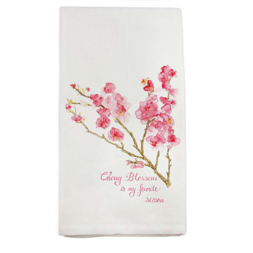 Cherry Blossom with Quote Dishtowel