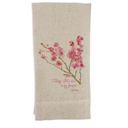 Cherry Blossom with Quote Guest Towel