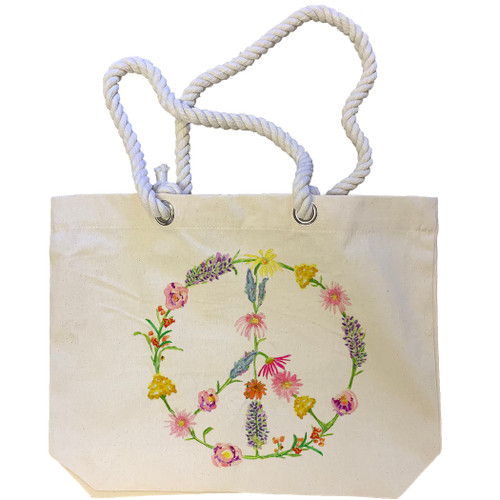 Peace Sign Flower Tote Bag