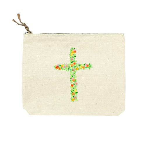 Cross with Flowers Cosmetic Bag