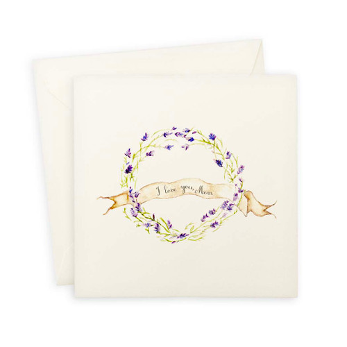 Lavender Wreath I Love You Mom Note Card