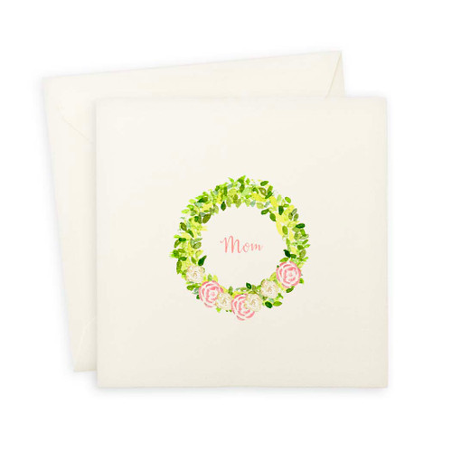Wreath With Flowers Mother's Day Note Card