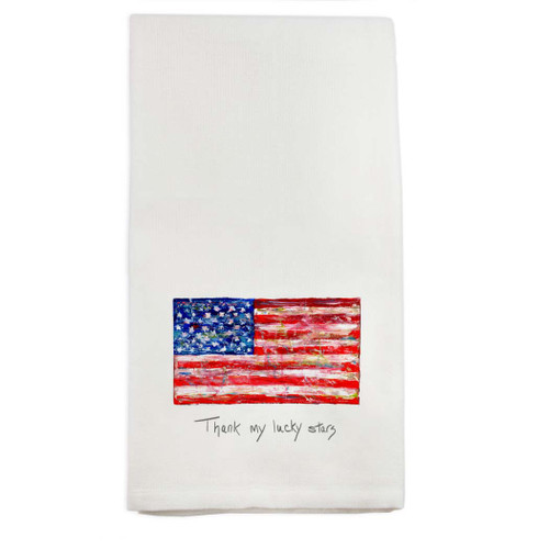 Flag with Quote Dishtowel