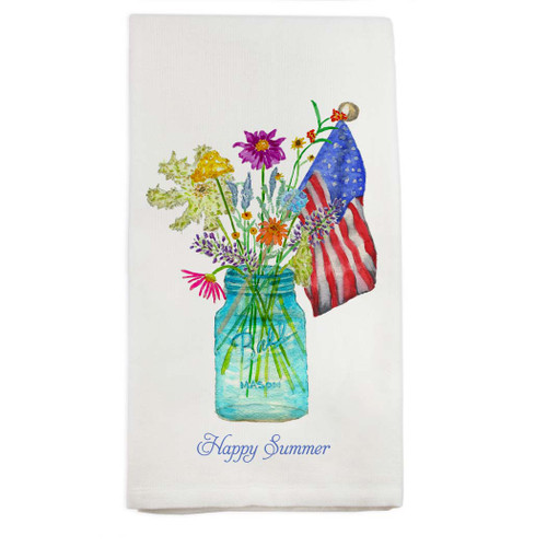 Wildflowers In Mason Jar with Flag and Quote Dishtowel